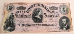 Us Coins - Confederate currency - $100, Feb 17th, 1864