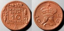 World Coins - German porcelain coin, scarce - 10 pfennig, Deutsches Reich