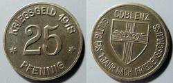 World Coins - high grade German metal emergency coin (notgeld) - Coblenz, 25 pfennig