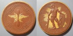 World Coins - Large gold gilded German brown porcelain medal - flight / well armed cherub - 1922