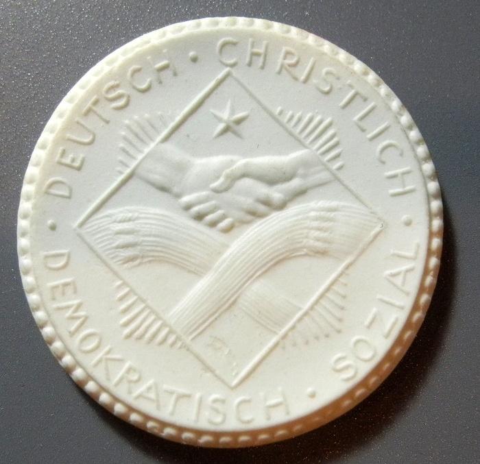 World Coins - German white porcelain medal -