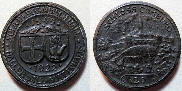 World Coins - German black porcelain medal - Schloss Comburg