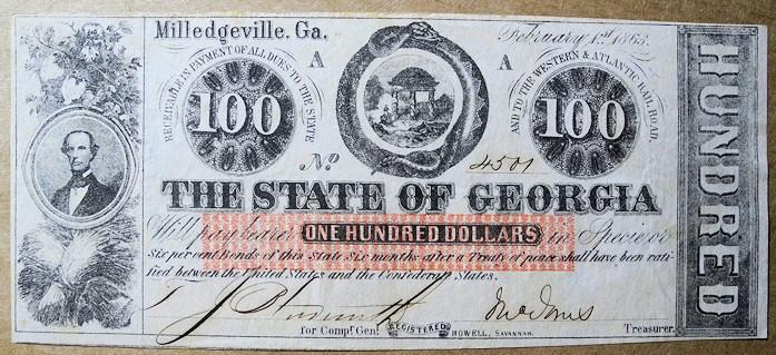 US Coins -  Obsolete currency, State of Georgia, Milledgeville, $100 uncirculated