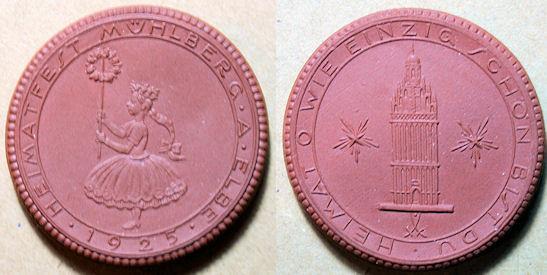 World Coins - German brown porcelain medal - Muhlberg - 1925