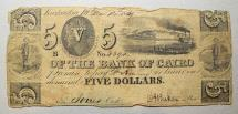 Us Coins - Obsolete currency, Kaskaskia, IL- Bank of Cairo $5 Mar. 12, 1839