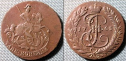 World Coins - Russia, Catherine II, 1765 - 2 Kopecks - very attractive!!