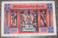 World Coins - rare German linen notgeld - 500 milliarden mark - Bielefeld