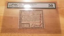Us Coins - Massachusetts Colonial 5 dollar note May 5, 1780 - PMG AU50