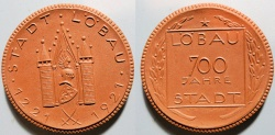 World Coins - German brown porcelain medal - Lobau, 1921