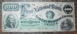 Us Coins - $500 Gem City Business College Currency 1873 Illinois, circulated