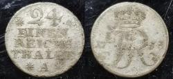 World Coins - 1/24 Taler 1753 Prussia. billon coin