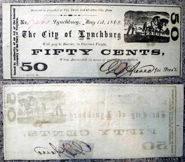 US Coins - Obsolete Currency - USA - Virginia, City of Lynchburg, 50 cents