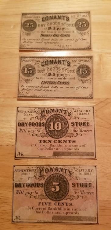 US Coins - Civil War banknotes - Conant's Dry Goods in Provincetown, MA