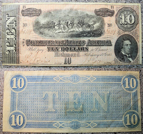 US Coins - Civil War - Confederate States of America, Richmond, 10 dollars