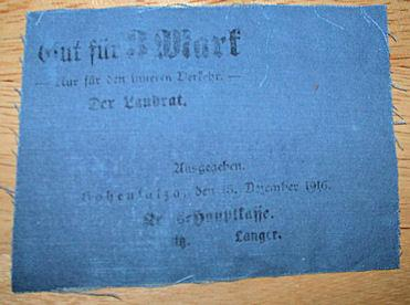 World Coins - German linen notgeld - 3 Mark, Posen, Hohensalza - December 1916
