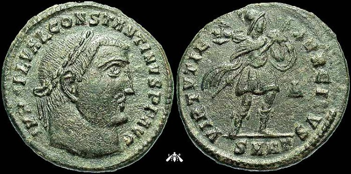 Ancient Coins - Constantine I, AE Follis, VIRTVTI EXERCITVS, EF, Unlisted in RIC