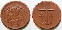 World Coins - German brown porcelain medal, Oberammergau - Passion Play