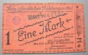 World Coins - German POW camp linen notgeld, Bad Colberg - 1 Mark