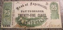 Us Coins - Obsolete currency - 1862 25c The Bank of Fayetteville, NEW YORK Civil War Merchants Scrip