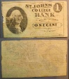 St John's college bank one cent tuition currency - 1 cent - Minnesota