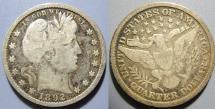 Us Coins - USA - Barber quarter, 1892, somewhta darker grey toning