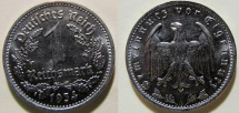 World Coins - Germany, 1934-C, brilliant uncirculated 1 Mark - bright, attractive - Third Reich
