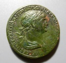 Ancient Coins - Trajan, 98-117 AD, AE sestertius - scarce Trajan on platform reverse