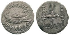 Ancient Coins - Roman Imperatorial, Marc Antony, AR denarius, 32-21 BC, galley