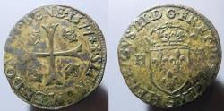 World Coins - France, Henri III, 1574-1589 AD, billon Douzain - dated 1577