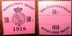 World Coins - German emergency money printed on linen - Racot - 50 pfennig, pink