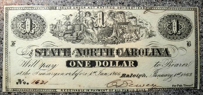 US Coins - USA - 1863 - State of North Carolina, $1 banknote - uncirculated