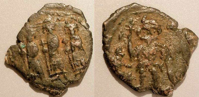 Ancient Coins - Constans II, with Constans IV, Heraclius, and Tiberius.  641-668 AD
