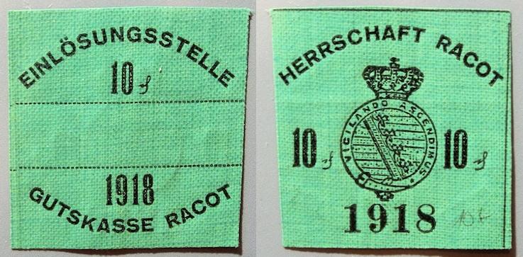 World Coins - German WW I emergency money printed on linen - Racot 10 pfennig