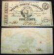 Civil War currency, North Carolina, 5 cents - January 1, 1863