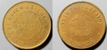 World Coins - brass Leper Colony money - Colombia, 20 centavos, 1901