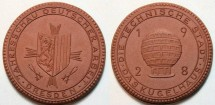 World Coins - German brown porcelain medal, Dresden 1928