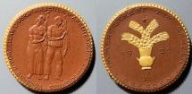 World Coins - German gold gilded brown porcelain medal - 1922 - German workers
