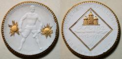 Ancient Coins - GERMAN gold gilded white porcelain medal - FREIBERG, 1922