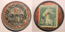 World Coins - very scarce French encased postage, 5 centimes, Musee Oceanographique, Aquarium de Monaco