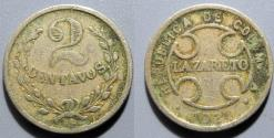 World Coins - Colombia, Leper Colony Coin / Token - 2 Centavos - LAZARETO