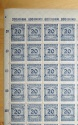 World Coins - German hyperinflation era mint never hinged sheet of stamps - 20 millionen