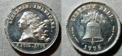 World Coins - white metal 1876 US Centennial medal, Libertas, ex-Virgil Brand,