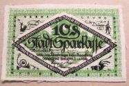 World Coins - very scarce German linen notgeld, 1919, Bielefeld, 10 pfennig