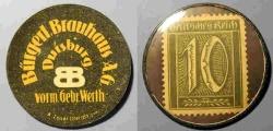 World Coins - German encased postage - Elberfeld - Burgerl Brauhaus - 10 pfennig