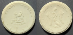 World Coins - German white porcelain coin - Meissen 5 Marks, 1921