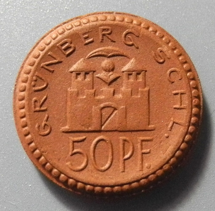 World Coins - German brown porcelain coin, Grunberg - 25 pfennig