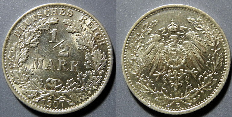 World Coins - Germany, 1907-E, silver 1/2 Mark - Brilliant Uncirculated