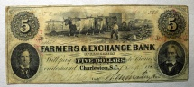 Obsolete currency - $5 Farmers & Exchange Bank, Charleston, SC 1856