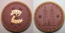 World Coins - German brown porcelain medal - gold gilded, Johanniskirchen