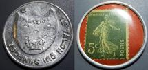World Coins - scarcer French encased postage Le Talon Qui S'Impose - 5 centimes